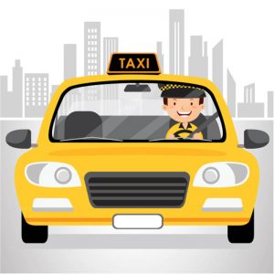 Cartoon yellow taxi with happy driver