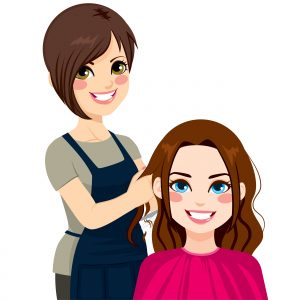 Cartoon of a hairdresser and client